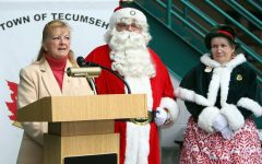 Santa Claus speaks at a press conference