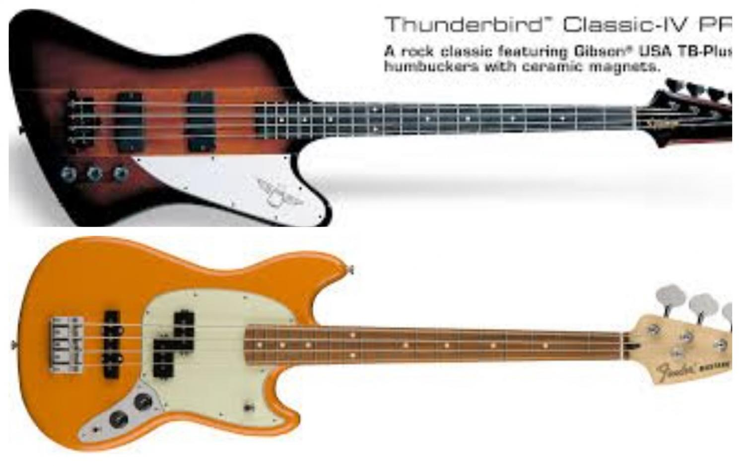 The Thunderbird Classic IV Pro (Top) and the Fender (Bottom)